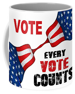 Coffee Mug featuring the digital art Vote - Every Vote Counts by Rafael Salazar