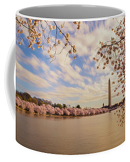 Coffee Mug featuring the photograph Washington Monument And Cherry Blossom by Rima Biswas