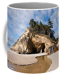 Waterfall Flowing Into The Pacific Ocean Coffee Mug