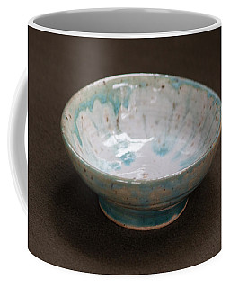 White Ceramic Bowl With Turquoise Blue Glaze Drips Coffee Mug by Suzanne Gaff