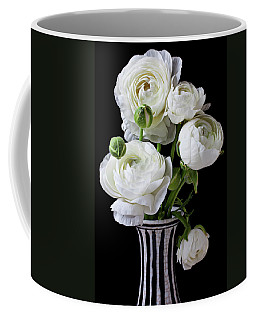 White Ranunculus In Black And White Vase Coffee Mug