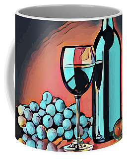 Wine Glass Bottle And Grapes Abstract Pop Art Coffee Mug