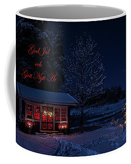 Coffee Mug featuring the photograph Winter Night Greetings In Swedish by Torbjorn Swenelius