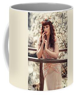 Woman Leaning On Rail Coffee Mug