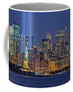 Coffee Mug featuring the photograph World Trade Center Wtc Tribute In Light Memorial II by Susan Candelario