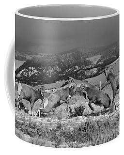 Wyoming Bighorn Brawlers - Black And White Coffee Mug