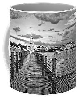 Yacht And Beach Lighthouse In Black And White Walt Disney World Mp Coffee Mug
