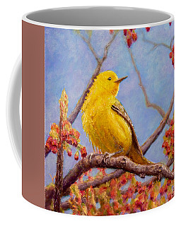 Coffee Mug featuring the painting Yellow Warbler by Joe Bergholm