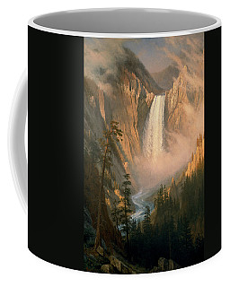 Coffee Mug featuring the painting Yellowstone Falls by Albert Bierstadt