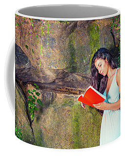 Young American Woman Reading Book At Central Park, New York, In  Coffee Mug