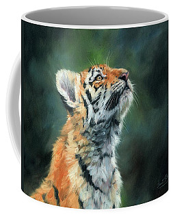Coffee Mug featuring the painting Young Amur Tiger by David Stribbling