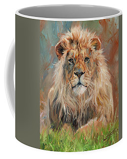 Coffee Mug featuring the painting Lion by David Stribbling