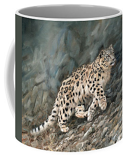 Coffee Mug featuring the painting Snow Leopard by David Stribbling