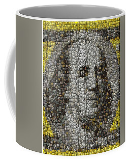 Coffee Mug featuring the mixed media 100 Dollar Bill Coins Mosaic by Paul Van Scott