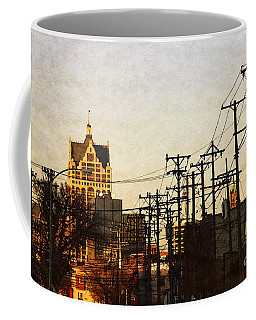 Coffee Mug featuring the digital art 100 East Wisconsin by David Blank