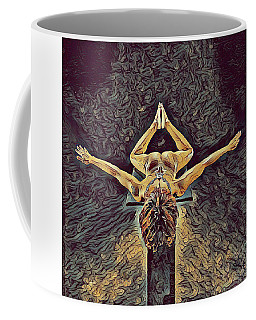 1038s-zac Dancer Flying On Pedestal Nudes In The Style Of Antonio Bravo  Coffee Mug by Chris Maher