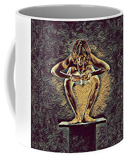 1083s-zac Dancer Squatting On Pedestal With Amulet Nudes In The Style Of Antonio Bravo  Coffee Mug by Chris Maher