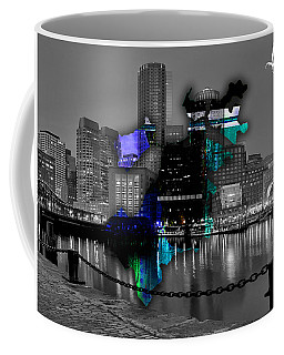 Boston Map And Skyline Watercolor Coffee Mug by Marvin Blaine