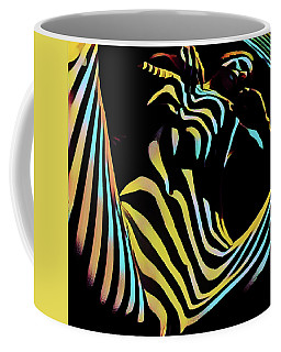 1149s-ak Dramatic Zebra Striped Woman Rendered In Composition Style Coffee Mug
