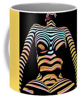 1205s-mak Seated Figure Zebra Striped Nude Rendered In Composition Style Coffee Mug