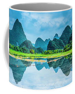Karst Rural Scenery In Raining Coffee Mug