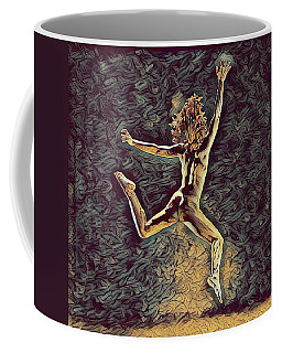 1307s-dancer Leap Fit Black Woman Bare And Free Coffee Mug by Chris Maher
