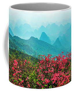 Blossoming Azalea And Mountain Scenery Coffee Mug