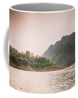 The Mountains And Lake Scenery In Sunset Coffee Mug
