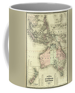 Coffee Mug featuring the mixed media 1867 Australia And East Indies Vintage Map by Carsten Reisinger