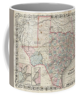 1870 Colton Pocket Map Of Texas Coffee Mug