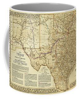 1876 Great Texas And Southwestern Cattle Trails Map Coffee Mug