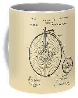 1881 Velocipede Bicycle Patent Artwork - Vintage Coffee Mug