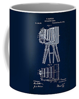 1885 Camera Us Patent Invention Drawing - Dark Blue Coffee Mug