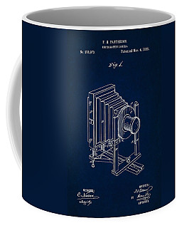 1888 Camera Us Patent Invention Drawing - Dark Blue Coffee Mug