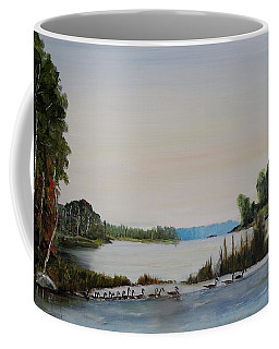 Coffee Mug featuring the painting 19 Geese by Marilyn  McNish