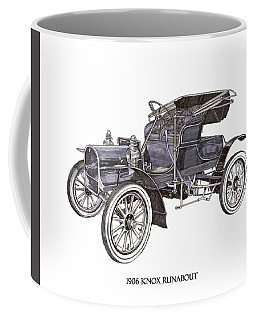 Coffee Mug featuring the drawing 1906 Knox Model F 3 Surry by Jack Pumphrey