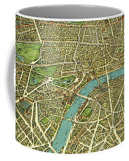 Coffee Mug featuring the mixed media  1908 London Vintage Map Poster by Carsten Reisinger