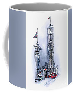 Coffee Mug featuring the painting 1908 Times Square,ny by Andrzej Szczerski