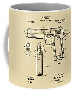 1911 Colt 45 Browning Firearm Patent Artwork Vintage Coffee Mug