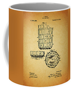 Coffee Mug featuring the mixed media 1916 Pool Table Pocket Patent by Dan Sproul
