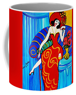 Coffee Mug featuring the painting 1920's Blue Room by Nora Shepley