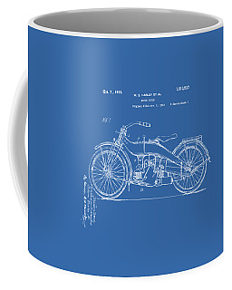 Coffee Mug featuring the digital art 1924 Harley Motorcycle Patent Artwork Blueprint by Nikki Marie Smith