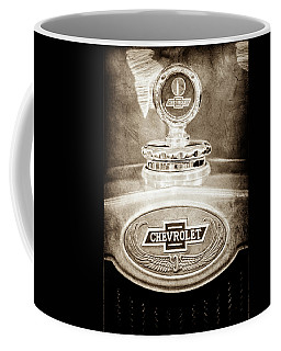 Coffee Mug featuring the photograph 1928 Chevrolet 2 Door Coupe Hood Ornament Moto Meter -0789s by Jill Reger