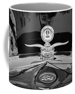 1929 Ford Model A Hood Ornament Bw Coffee Mug by Rich Franco