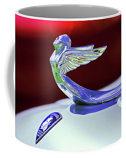 Coffee Mug featuring the photograph 1933 Plymouth Hood Ornament -0121rc by Jill Reger