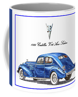 Coffee Mug featuring the painting 1936 Cadillac V-16 Aero Coupe by Jack Pumphrey