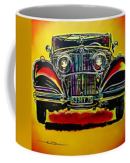 Coffee Mug featuring the painting 1937 Mercedes Benz First Wheel Down by Eric Dee