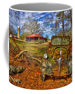 Retired 1947 Dodge Dump Truck Country Scene Art Coffee Mug