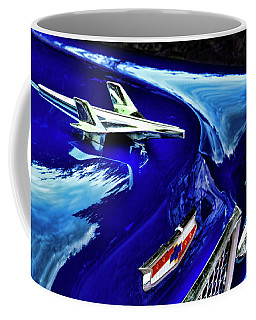 1955 Chevy Bel Air Hard Top - Blue Coffee Mug by Peggy Collins