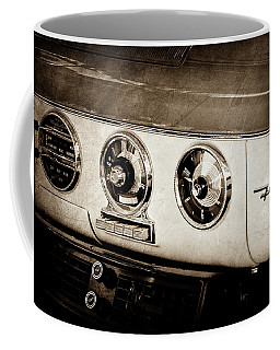 Coffee Mug featuring the photograph 1955 Ford Fairlane Dashboard Emblem -0444s by Jill Reger